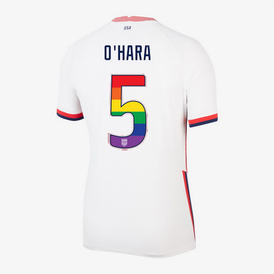 2020/21 USA White Kelley O'hara Women's Jersey Rainbow Numbers