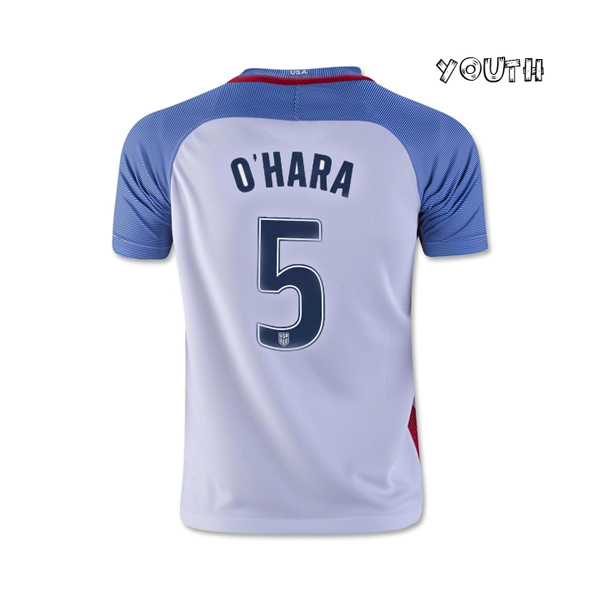 2016/17 USA Home Kelley O'Hara Youth Soccer Jersey (#5)