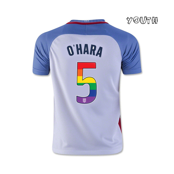 2016/17 Home Kelley O'Hara Jersey Youth USA Soccer (LGBTQ Pride)