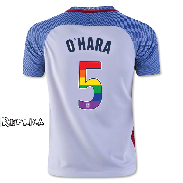 2016/17 Home Kelley O'Hara Jersey Replica Men's USA Soccer (LGBTQ Pride)