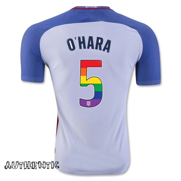 2016/17 Home Kelley O'Hara Jersey Men's Authentic USA Soccer (LGBTQ Pride)